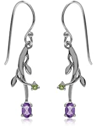 Natural African Amethyst & Peridot 925 Sterling Silver Vine Leaf Dangle Earrings