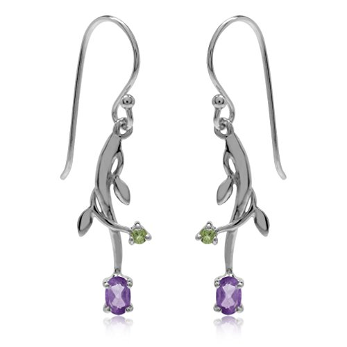 hyst & Peridot 925 Sterling Silver Vine Leaf Dangle Earrings ()