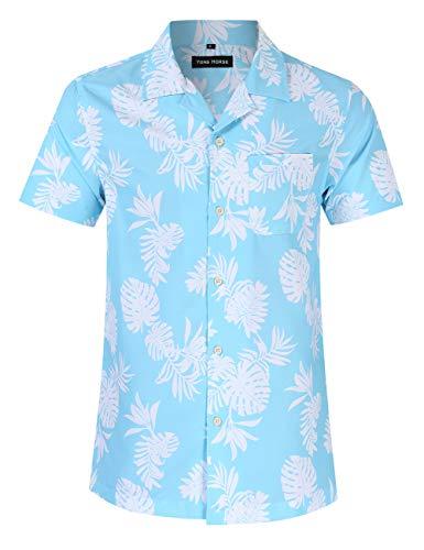 Yong Horse Men's Hawaiian Shirt White Flower Print Short Sleeve Beach Party Casual Button Down Shirts