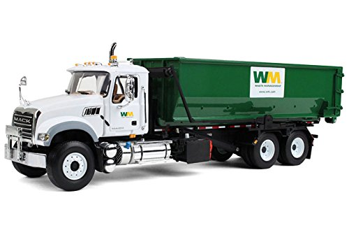 Waste Management Garbage Truck (First Gear 1/34 scale Diecast Collectible Waste Management Mack Granite with Tub-Style Roll-Off Container (#10-4050))