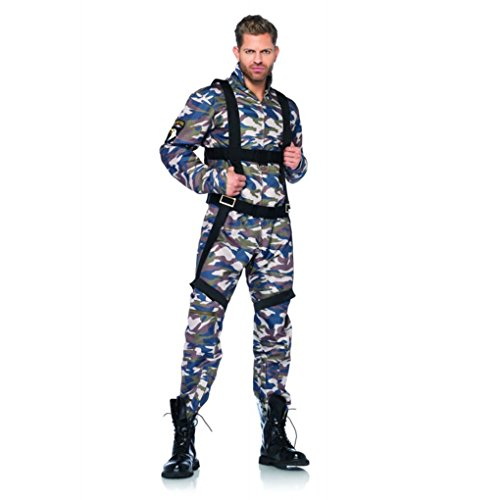 [Mememall Fashion Paratrooper Camo Flight Suit Body Harness Halloween Costume Cosplay 2 Pc Set Men] (Latex Wolf Suit)