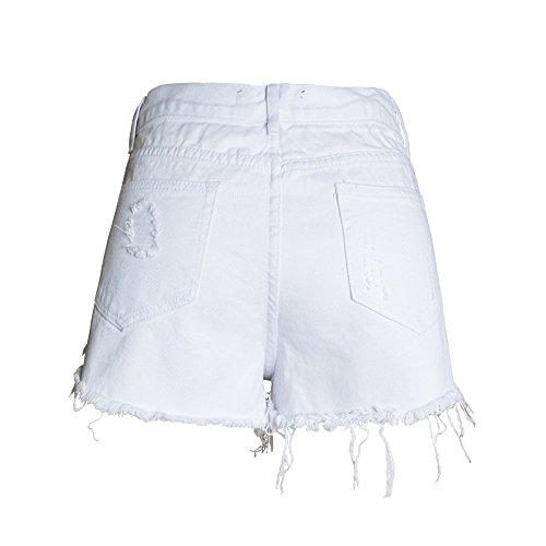 Bassa Strappati Estivi Fiori Vita Fuweiencore Skinny Bianca Da Con Alta Jeans Ricamo Pantaloni Donna Bottoni A OcBzq6yc