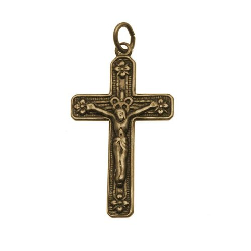 Antiqued Brass Crucifix Rosary Pendant - 29x16.5mm (Antiqued Brass Crucifix)