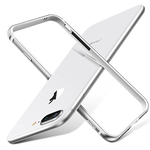ESR iPhone 8 Plus Case, iPhone 8 Plus Bumper Case, [Aluminum Frame with Soft TPU Shockproof Inner] [No Signal Blocking] Slim Design Protective Cover for iPhone 8 Plus/iPhone 7 Plus(Sliver)