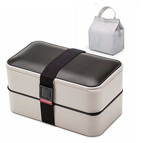 YOYOHOME 1.2L Lunch Box, Bento Box Containers with Cutlery, Double Stackable Boxes, Leakproof, Microwave, Freezer, Dishwasher Safe, BPA-Free +Lunch bag (gray) by YOYOHOME