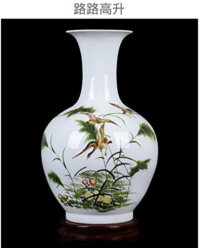 Decorative Vases for Living Room Table,Handmade Vintage Chinese Ceramic Vase for Home Decor,Hand Painted Colorful Flying Wild Birds and Weeds,Modern Elegant China Porcelain Artwork