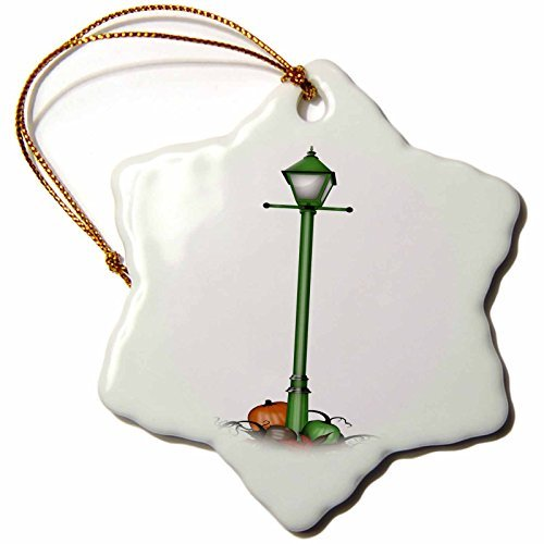 Christmas Ornament Anne Marie Baugh - Halloween - Cute Green Halloween Street Light With Pumpkins Illustration - Snowflake Porcelain Ornament ()
