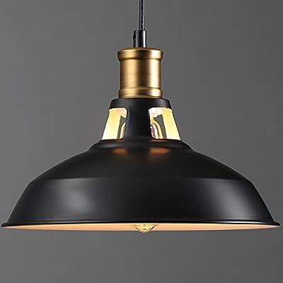YANCEN Industrial Metal Black Pendant Light Farmhouse Edison Ceiling Lamp Barn Dome Lampshade Hanging Light Fixtures for Kitchen Loft Bar Restaurant