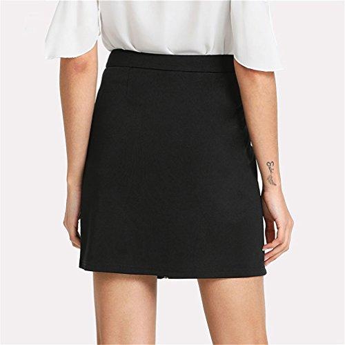 Taille Jupe Anneau Fleur Femmes Jupe Botanique Broderie Mini lgant Jupe Noir A Zipper Up Intermdiaire Black Printemps Ligne 4Yxw8daqx