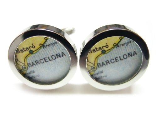 Barcelona Cufflinks - Barcelona Map Cufflinks