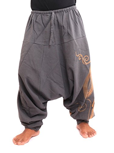 Chic Swirl - jing shop Harem Pants - Cotton One Size with Swirl Print Unisex for Men and Women Hippie Boho Chic Grey
