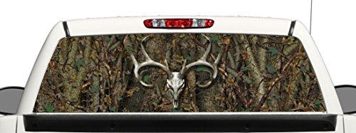 Truck SUV Camo Deer Skull Rear Window Graphic Decal Perforated Vinyl Wrap (Window Camo Decals)