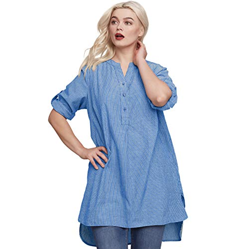 - Ellos Women's Plus Size Striped Henley Tunic - Ultramarine Stripe, 2X