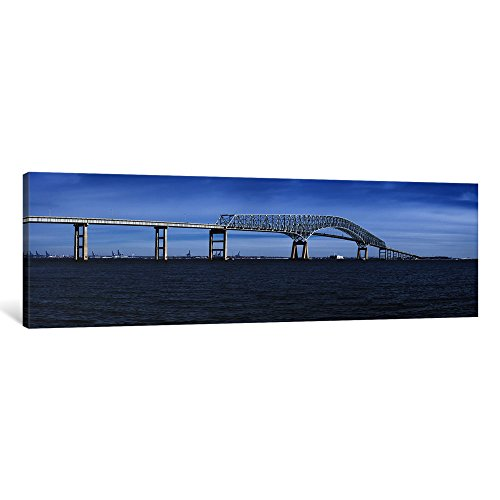 "iCanvasART 1 Piece Bridge Across a River, Francis Scott Key Bridge, Patapsco River, Baltimore, Maryland, USA Canvas Print by Panoramic Images, 48"" x 16""/1.5"" Depth"