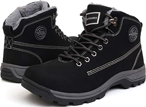 WHITIN Men's Winter Shoes Snow Boots Outdoor Trekking for Weather Warm Work Thermal Insulated Fully Fur Lined Nubuck Leather Hiking Waterproof Lace Up Anti-Slip Comfortable Black Size 9.5