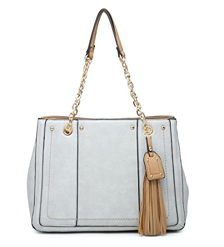 Elegant Fashions New Womens Tassel Design Long Strap Shoulder Bag< Ladies Large Strap Shoulder Shopper Tote Bag Grey