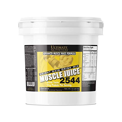 Ultimate Nutrition Muscle Juice Weight and Muscle Gainer Protein Powder - Gain Weight Fast with 55g Protein 162g Carbs and 1020 Calories Per Serving, Banana, 10.45 Pounds