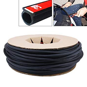 Uniqus Small D-Shaped Car Noise Reduction Sealing Strip with Sticker, Length  100m