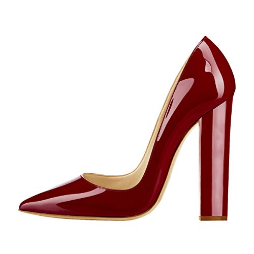 Onlymaker Women's Pointed Toe Block Chunky Classic High Heels Slip On Shoes Wedding Office Party Pumps Artificial Patent Leather Wine Red US7