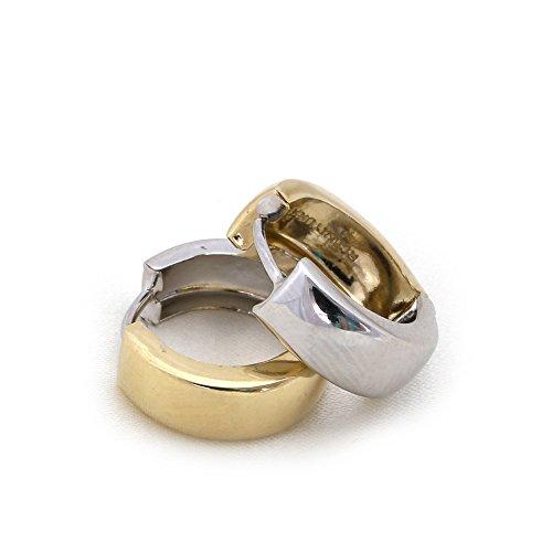 Reversible Huggie Earrings (14k White and Yellow Gold 5mm Reversible Polished Huggie Hoop Earrings, 0.5