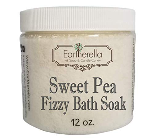 Naked SWEET PEA scented Fizzy Bath Soak with Epsom salts, Large 12 oz jar (Sweet Pea Bath Bomb)