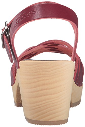 swedish hasbeens Red High Braided Wine Women's Sandal Heeled qrdqOgx0