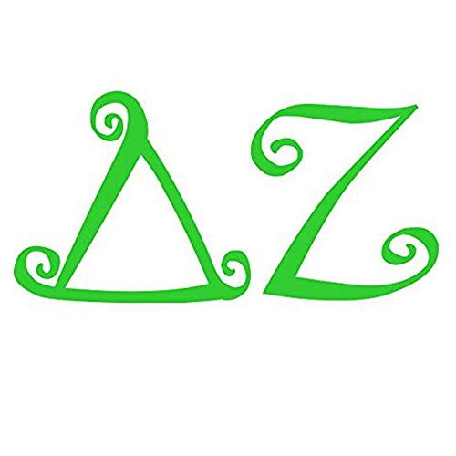 Delta Zeta Curlz Greek Letter Sticker 2 Inches Kelly Green (Delta Zeta Car Decal)