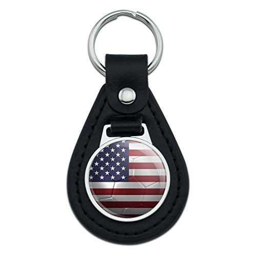 Graphics and More The United States Flag Soccer Ball Futbol Football Black Leather Keychain - Leather Football Keychain Tag