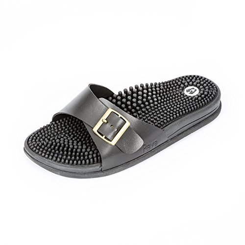 Revs Premium Acupressure & Reflexology Massage Sandals for Men & Women. Massage Therapy for Better Health, Pain Relief, Muscle Recovery, Injury, Increased Circulation & Energy. Black