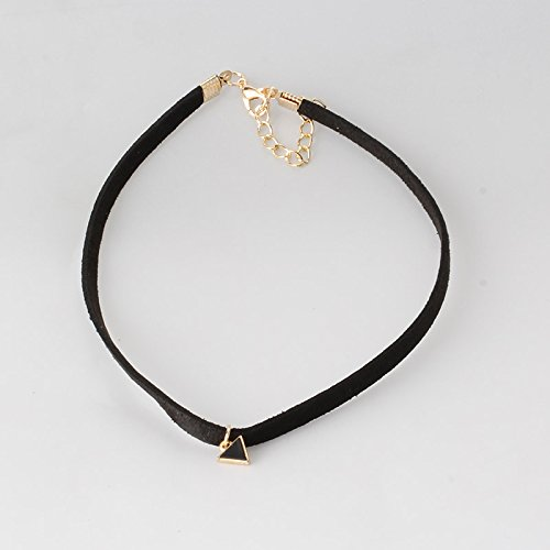Pyrsun(TM) New Fashion Design Leather Braided Rope Chain Black Necklace with Triangle Pendant Women Neck Accessories Choker Necklace