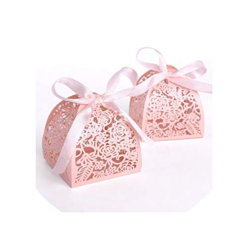 2019 New 50Pcs/Lot Ribbon Pyramid Laser Cut Wedding Favor Candy Gift Chocolate Box White Pink,White,6X6X6Mm