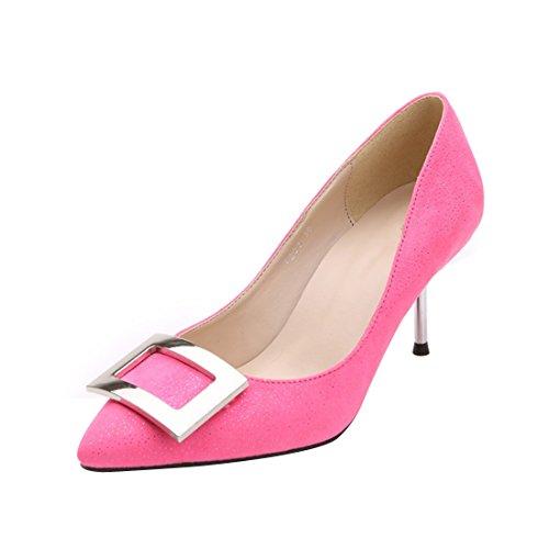 HooH Women's Metal Buckle Pointed Toe Kitten Pumps Pink XvFXoo3G