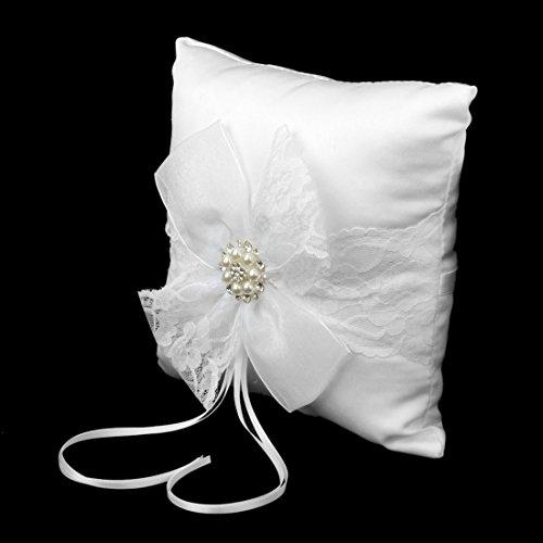 Dentelle Coussin - SODIAL(R) Coussin Porteur de Bague Orne de Fleur en Dentelle 20 x 20cm pour Mariage - Blanc