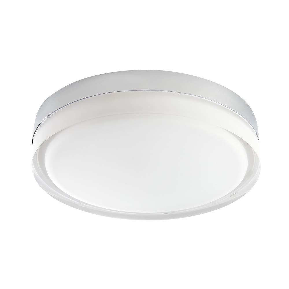 Milano Fischa LED-Deckenleuchte, rund, Chrom, IP44, wasserdicht, Warmweiß (3000 K) mit mattiertem Opalglas Diffusor