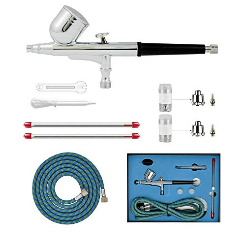 HUBEST Professional 0.2mm\0.3mm\0.5mm Dual Action Airbrush Spray Paint Gun Kit Complete Set with Hose, Nozzle, Needle for Makeup, Tattoo, Hobby