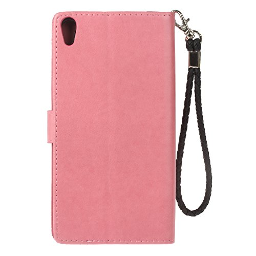 EUWLY Sony Xperia XA Ultra Case Sony Xperia XA Ultra Leather Wallet Case With Hand Wrist Strap Flower and Owl Embossed PU Leather Case with Bling Glitter Diamond Design Ultra Slim Anti-Shock Anti-Scra Pink nThX19