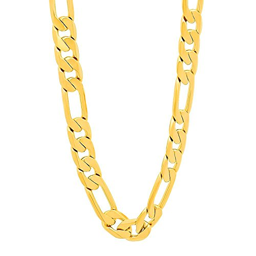 Lihong Fashion Men's 24k Yellow Gold Plated 8mm Flat Figaro Link Chain Necklace, (20-30) Inches