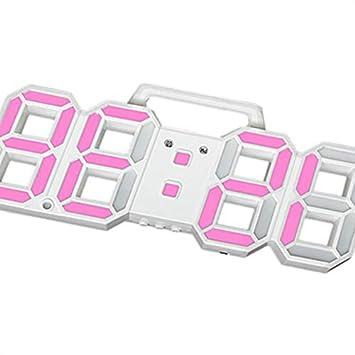 Topker 3D LED de Alarma del Reloj electrónico Luminoso Digital USB Reloj de Pared de energía Dígitos Muy Visible: Amazon.es: Electrónica