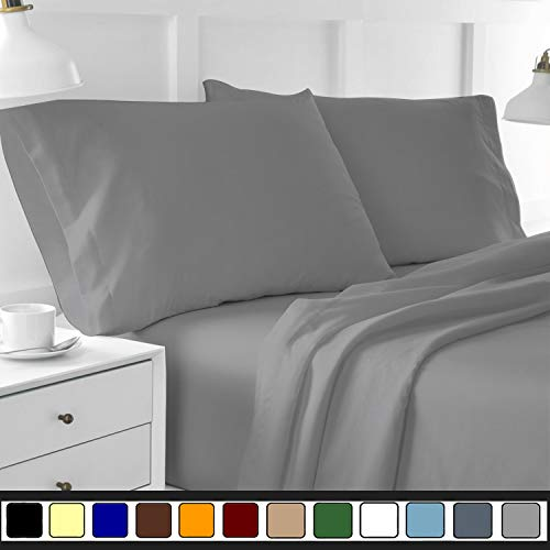 """My Cotton Spa Bamboo Sheet set 800 TC, Italian finish (Eco-friendly, Hypoallergenic, Fade resistant and Less piling) 21"""" deep pocket antibacterial fiber sheets Full, Silver Grey"""