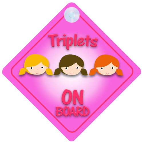 - Triplet Girls On Board Car Sign New Baby / Child Gift / Present / Baby Shower Surprise