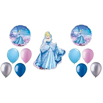 LoonBalloon CINDERELLA Disney PRINCESS 11 Birthday Party Mylar & Latex Balloons Bouquet Set: Toys & Games
