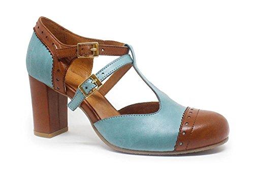 Zapato Up Elena Azul Tacón De Pin Marrón Unq1rUYR