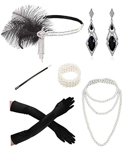 1920s Accessories Headband Necklace Gloves Cigarette Holder Flapper Costume Accessories Set for Women(111set1)