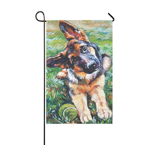 Niaocpwy German Shepherd Art Clip Art Welcome Garden Flag Vertical Outdoor & Indoor