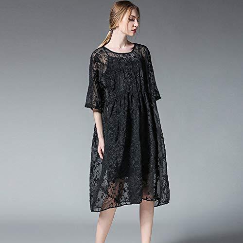 HGDR Black Frühlingssommerherbstfrauen Anzug Kleid Kleid Elegantes Zweiteiligen Stickerei der Parteiabendcocktail Lose Rundhals rrwxPB4