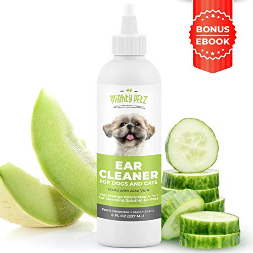 4-in-1 Dog Ear Cleaner – Vet Formulated Cleansing Solution + Aloe Vera for Removing Wax, Debris & Odor in Pets. Supports…