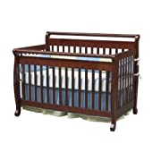 Million Dollar Baby Co DaVinci Emily 4-in-1 Convertible Crib w/Full/Twin Size Bed Rail Set in Cherry