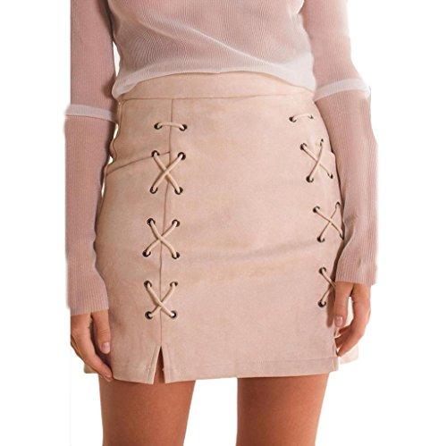 Vovotrade? Femmes Bandage en Daim Tissu Suede Fabric Mini Sexy Jupe Slim Stretch Sans Couture Jupe Rose