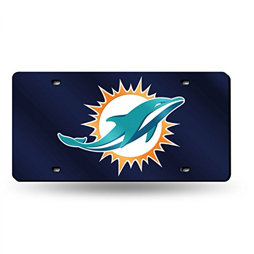 Miami Dolphins NEW LOGO NAVY Deluxe Laser License Plate Tag Mirrored Football
