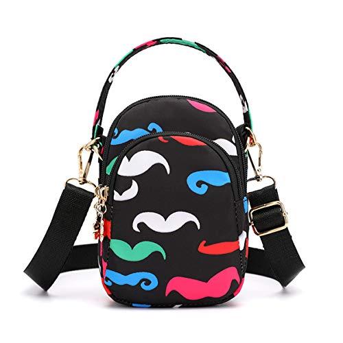 (Travel Crossbody Bags Small Shoulder Bag Wallet Purse Cellphone Pouch Stylish Handbag 3 Layers Chest Pockets Flower Pattern For Women Fun Beard)
